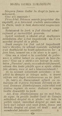 Prima femeie doctor in drept din Europa-Sarmiza Bilcescu